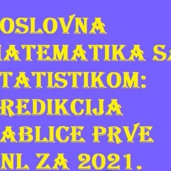 Poslovna matematika sa statistikom- Predikcija tablice prve HNL za 2021